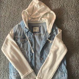 Blue denim and white jean jacket/hoodie